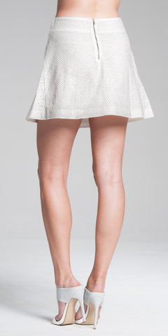 Paneled A-Line Mini Skirt - White