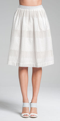 Embroidered Knee-Length Skirt - White