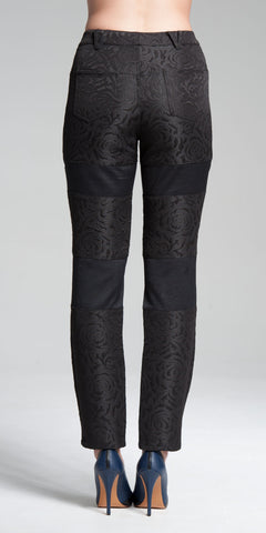 3D Floral Patterned Cotton Brocade Patch-Panel Pants - Black