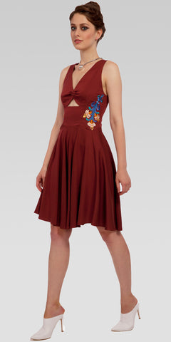 Cut-Out Front Embroidered Knee-Length Dress - Dk. Rust