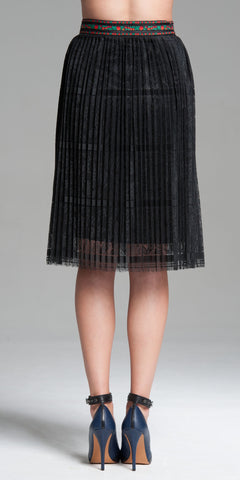 Pleated Jacquard Ribbon Band Knee-Length Border Lace Skirt - Black