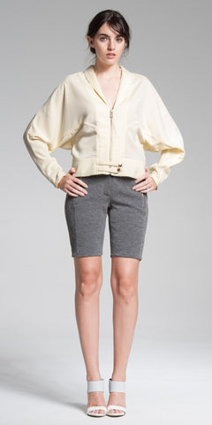 Batwing-Sleeve Banded Jacket - Custard