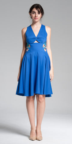 Cut-Out Front Embroidered Knee-Length Dress - Indigo