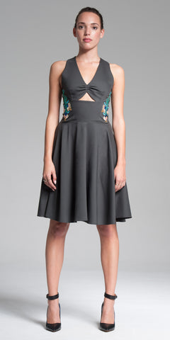 Cut-Out Front Embroidered Knee-Length Dress - Charcoal