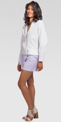 Batwing-Sleeve Banded Jacket - White