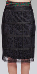 Jacquard Ribbon Band Knee-Length Border Lace Skirt - Black