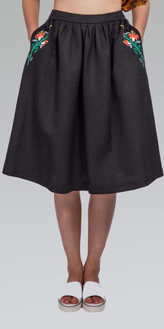 Embroidered Knee-Length Skirt - Black