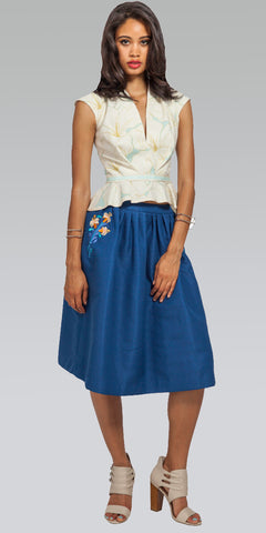 Embroidered Knee-Length Skirt - Indigo