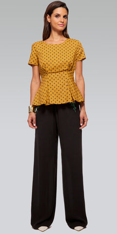 Short-Sleeve Zippered Peplum Top - Marigold