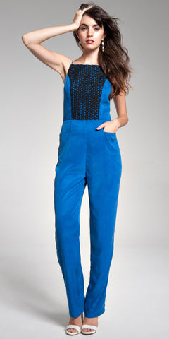 Eyelet Combo Shift Jumpsuit - Indigo