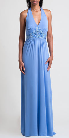 Soutache Embroidery Halter Maxi Dress - Lt. Indigo