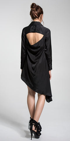 Asymmetrical Shirt Dress w/Open Back
