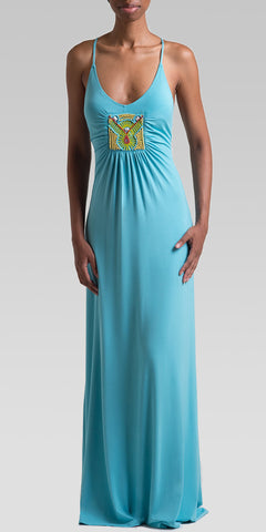 Beaded Back-Tie Maxi Dress - Aqua