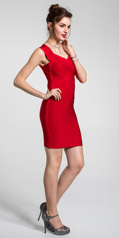 Small V-Neck Sleeveless Bandage Dress