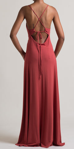 Beaded Back-Tie Maxi Dress - Dk. Rust