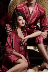 Shiny and Elegant! Two-Piece pajama set in Kimono style wz Spaghetti dress-Burgundy