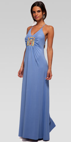 Beaded Back-Tie Maxi Dress - Lt. Indigo