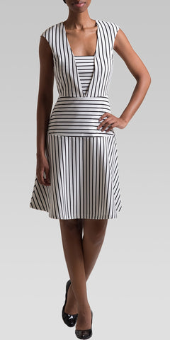 Placement Stripe Knee-Length Dress