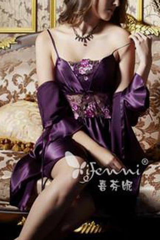 Shiny and Elegant! Two-Piece pajama set in Kimono style wz Spaghetti dress-Purple