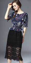 Silk Printed top and Lace skirt Dress