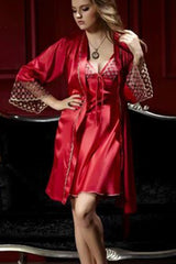 Shiny and Elegant! Two-Piece pajama set in Kimono style wz Spaghetti dress -  Red