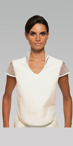 Curved Hem Top - White