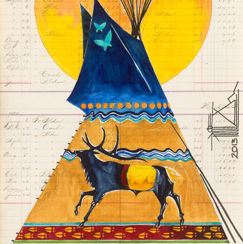 PRINT Watercolor on Antique Ledger Paper ~ Elk Lodge 2013