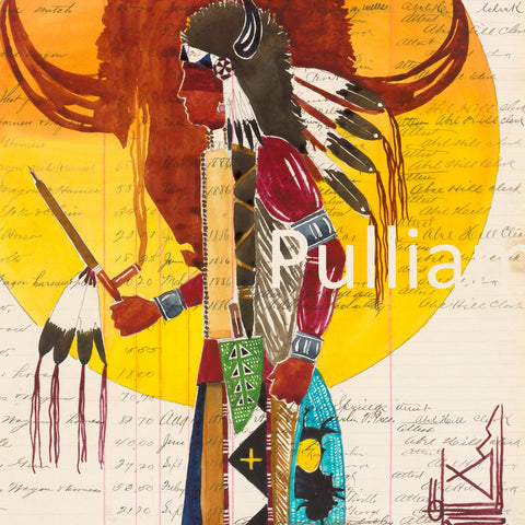 Original Watercolor on Antique Ledger Paper ~ A Prayer for the Buffalo Nation