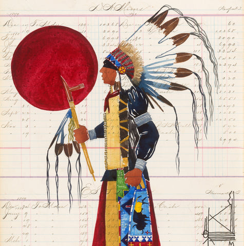 PRINT Watercolor on Antique Ledger Paper ~ Wicha'sa 2013