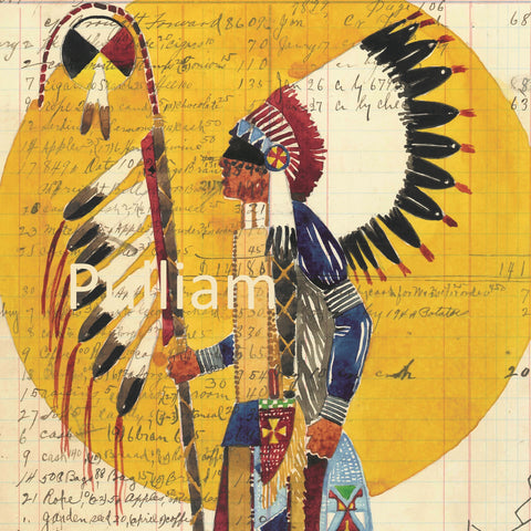 (FINE ART PRINT) Watercolor on Antique Ledger Paper #346 JD Barrow ~ A Man of His Nation