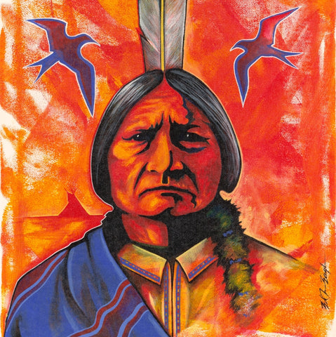 Sitting Bull with Blue Blanket