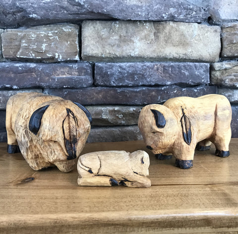 Carved Cottonwood Buffalo Holy Family