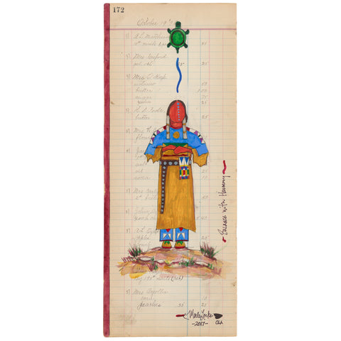 (Fine Art Print) Acrylic on Antique Ledger Paper #172 - Balance with Harmony