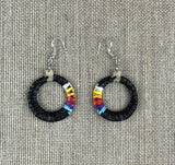 Red Cloud Quillwork Earrings - Black Collection