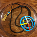 Red Cloud Quillwork - Medicine Wheel Bolo Tie - Sky Blue