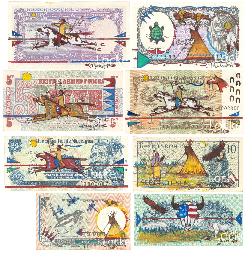 Original Ledger Art on Foreign Currency - Set of Eight