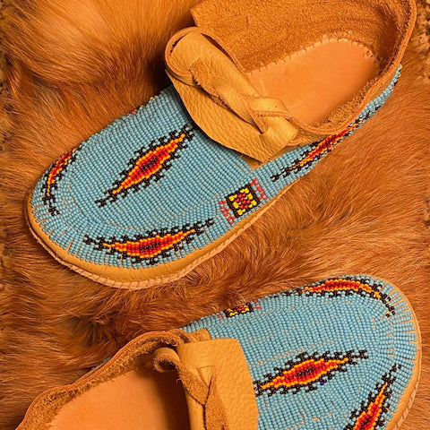Fully Beaded Leather Moccasins - Women's Sizes