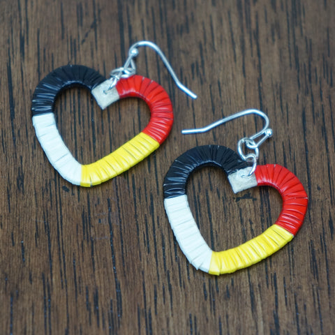 Red Cloud Quillwork Earrings - Traditional Hearts