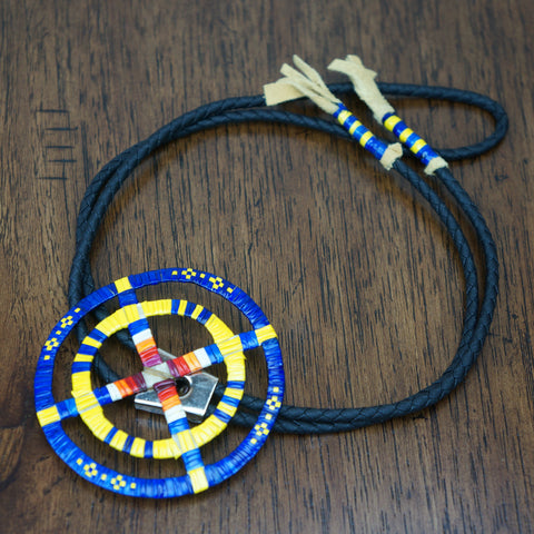 Red Cloud Quillwork - Bolo Tie - Blue & Yellow
