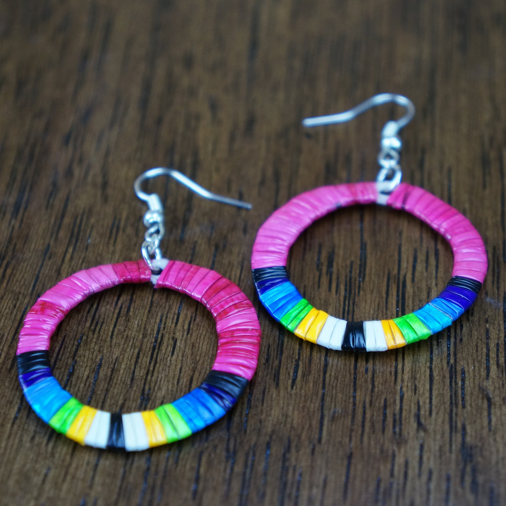 Red Cloud Quillwork Earrings - Circles in Pink