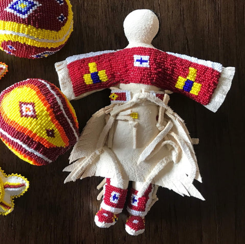 Traditional Buckskin Doll - Red