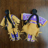 Traditional Buckskin Doll Pair - Purple