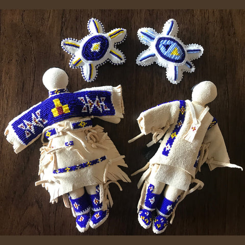 Traditional Buckskin Doll Pair - Cobalt