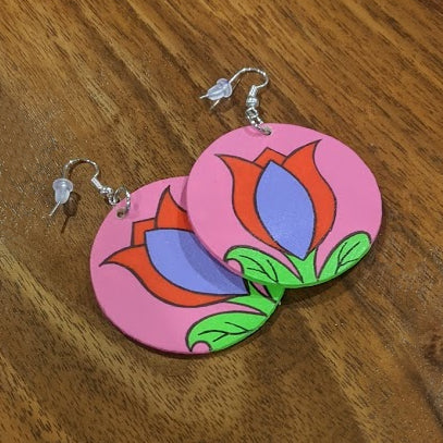 Parfleche Floral Earrings ~ 3 Colors