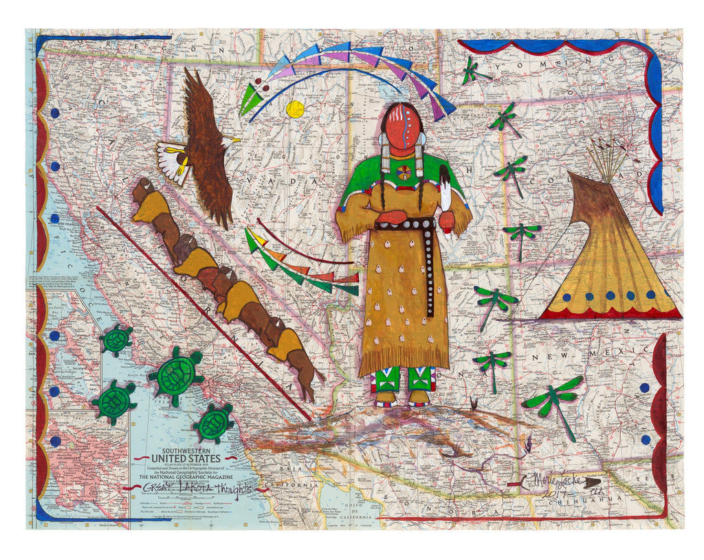 Fine Art Print - Vintage National Geographic Map - Great Lakota Thoughts