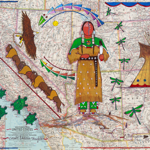 "Acrylic on Vintage National Geographic Map 19""x25"" Great Lakota Thoughts"