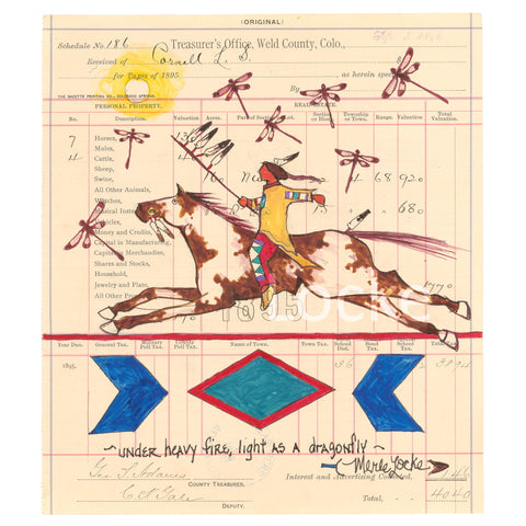 Original Ledger Art - Under Heavy Fire, Light as a Dragonfly