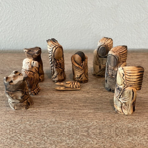 Carved Cottonwood Nativity - Set of Nine