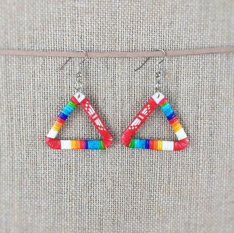 Red Cloud Quillwork Earrings - Triangles