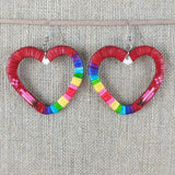 Red Cloud Quillwork Earrings - Hearts
